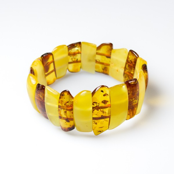 Bracelet en ambre naturel bi-colore cognac et royal