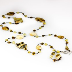 Long adult amber necklace with mosaic amber stones