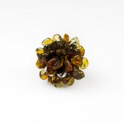 Green amber ring in flower shape