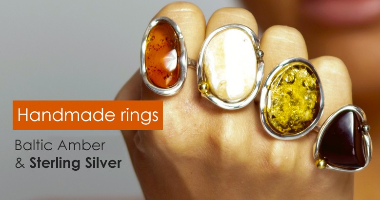 Amber Rings & Sterling Silver