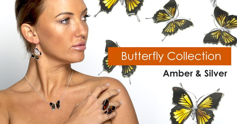 Butterfly Amber and Silver Collection
